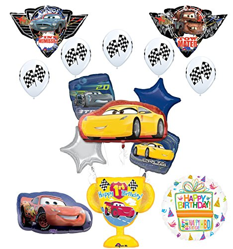 Disney Cars 1st Birthday Party Supplies Champion Trophy and Balloon Bouquet Decorations