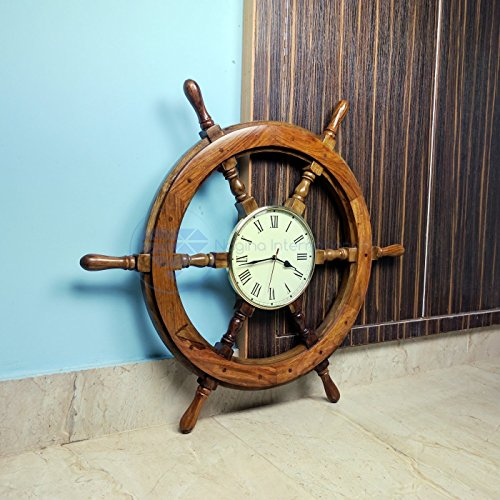 Nagina International Nautical Handcrafted Wooden Premium Wall Decor Wooden Clock Ship Wheels Pirate s Accent Maritime Decorative Time s Clock 24 Inches, Clock Size – 8 Inches