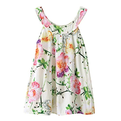 Summer Cute Kids Little Girl Casual Sleeveless Floral Print Vest Strap Dresses Princess Party Shirt Tops 3-6T (Green, -