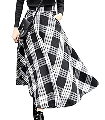 ARTFFEL-Women Fashion High Waist Plaid Big Hem Wool Blend Long A-Line Skirts