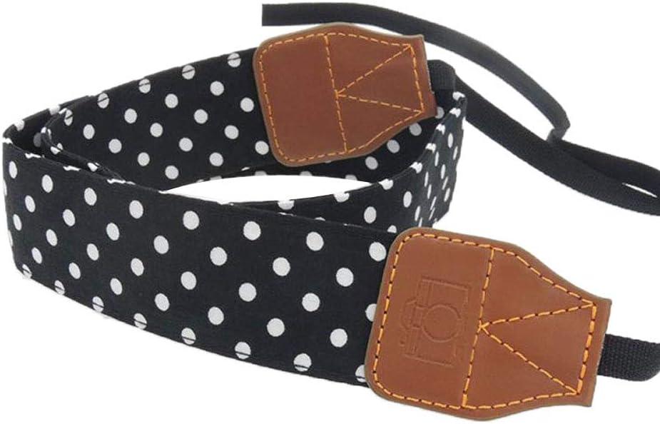 Braceus Vintage Polka Dots Camera Shoulder Strap Wide Hanging Travel Neck Strap Anti-Slip Belt for DSLR Camera Red