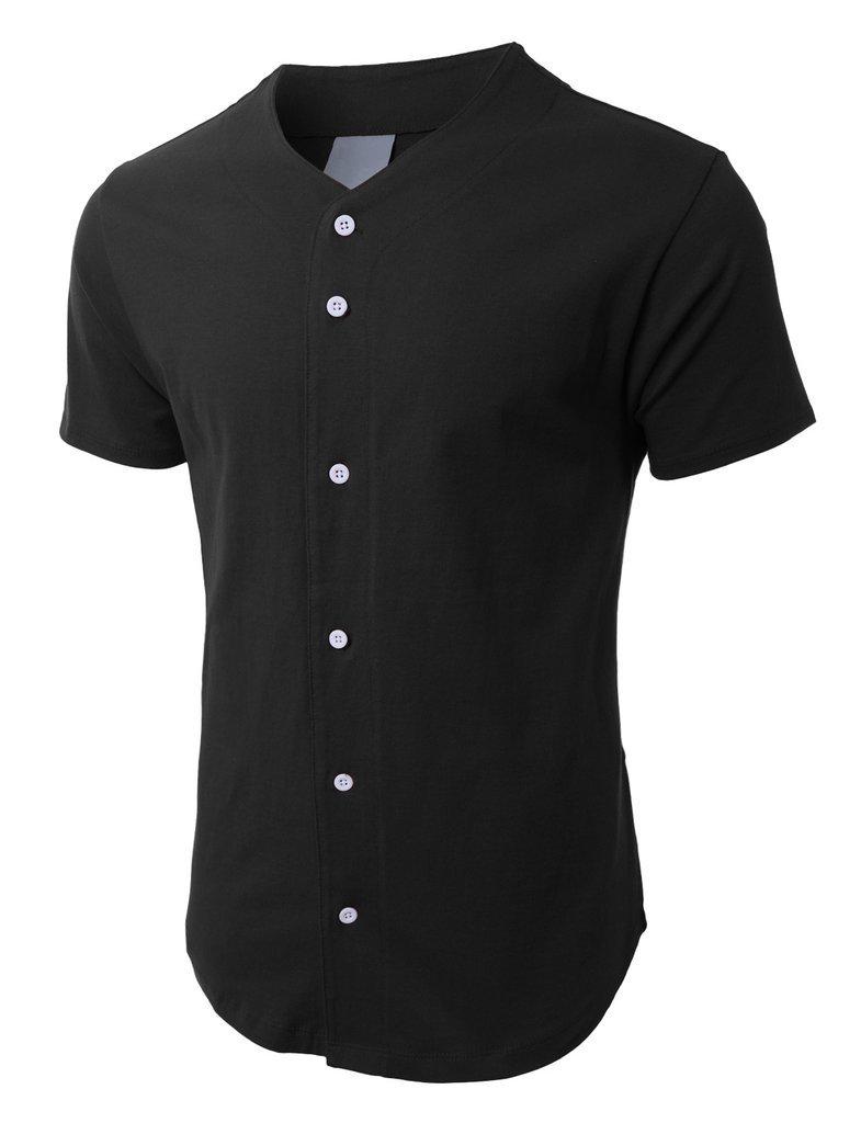 メンズ ベースボール ボタンタウン ジャージ ヒップスター ヒップホップ Tシャツ 1UPA01 B071CZSHD5 3XL|ブラック ブラック 3XL