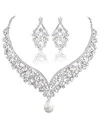 Ever Faith Bridal Flower Crystal Elegant V-shape Teardrop Necklace Earrings Set