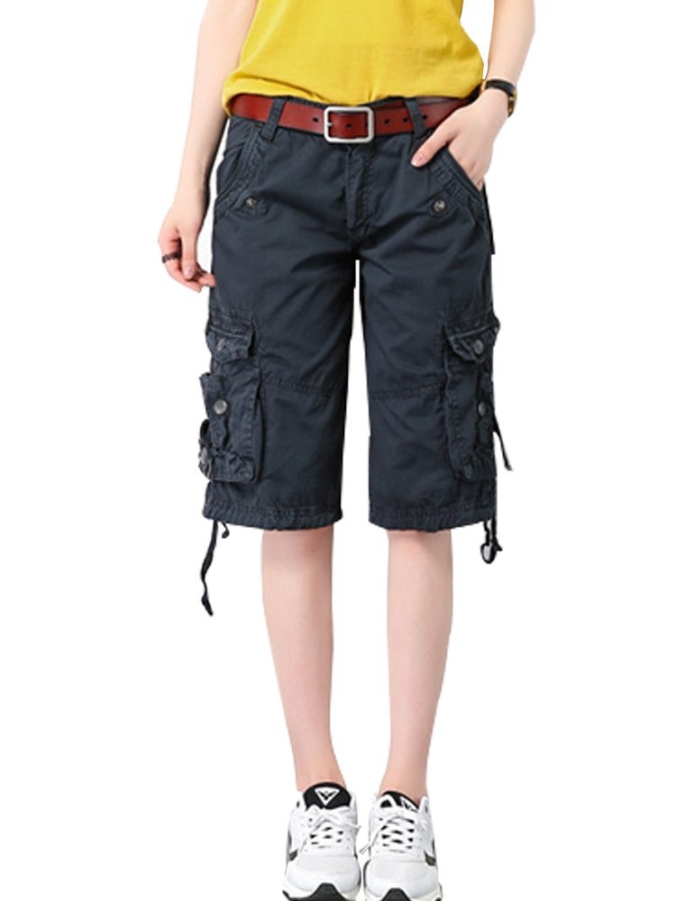 Women's Casual Loose Fit Multi-Pockets Twill Bermuda Cargo Shorts #1361,Blue,US 31