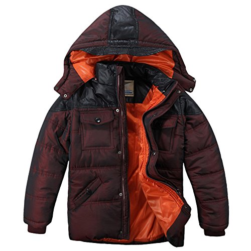XiaoYouYu Big Boy's Winter Hooded Zipper & Snaps Thickened Snow Coats US Size 14 Date Red