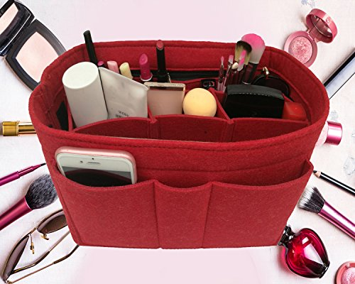 Felt Insert Fabric Purse Organizer Bag, Bag Insert In Bag with Zipper Inner Pocket Red M by LEXSION (Image #1)
