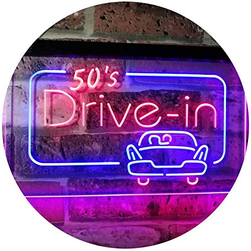 ADVPRO 50s Drive in Vintage Display Home Décor Dual Color LED Neon Sign Red & Blue 16 x 12 Inches - Neon Signs 50s