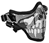 Tactical Crusader 2G Airsoft Strike Steel Half Mask, Black/Skull