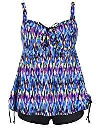 56fef80329e Hilor Women's Retro Plus Size Floral Pin UP Ruched Skirted Tankini Swimsuit