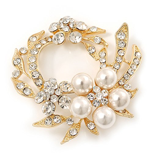 White Synthetic Pearl/ Clear Crystal Wreath Brooch In Gold Plating - 5cm (Pearl Wreath Brooch)