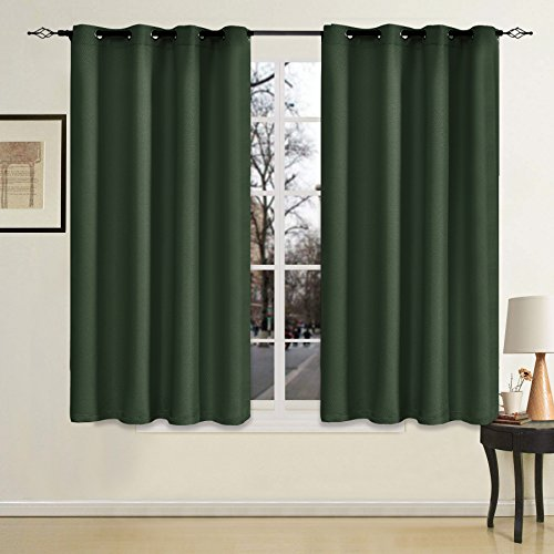 Blackout Window Curtain Panel for Bedroom Living Room Top Grommet Weave Thermal Insulated Curtain -1 Panel (52x63 Inch, Blackish (Forest Green Sage)