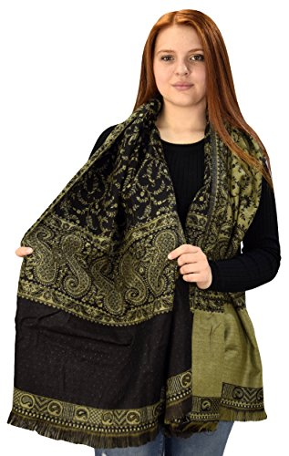Peach Couture Blanket Scarf Thick 4 Ply Reversible Paisley Pashmina Throw Scarf Wrap Shawl (Olive Reversible Blanket)