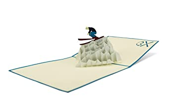Sport Skifahrer 3 D Pop Up Grußkarte Geburtstag Geldgeschenk