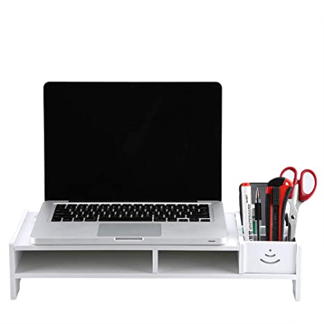 EBTOOLS Soporte para Monitor Asiento Elevador de Pantalla Soporte para alzador Mesa para Ordenador portátil PC Mueble de almacenaje para Mesa, Color ...