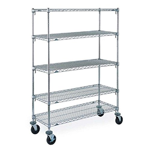 Super Adjustable 2 Super Erecta 5A556 5-Tier Stem Caster Cart, 24 in x 48 in x 69 in, 180 lb, Chrome-Plated, Poly Caster