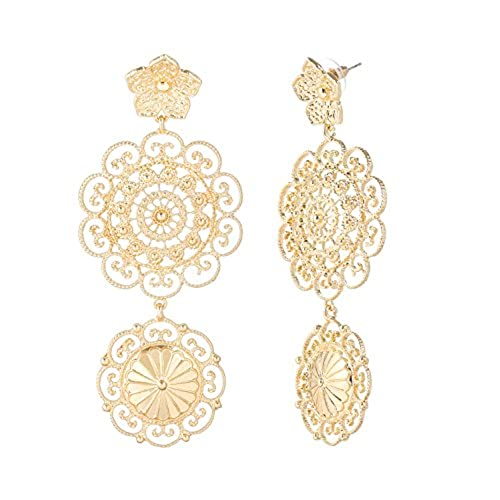 hot PHALIN JEWELRY Mother's Day Women's Leaf Dangle Earrings - Bohemian Flat Flower Drops with Crystal Rhinestone Stud Earrings save more