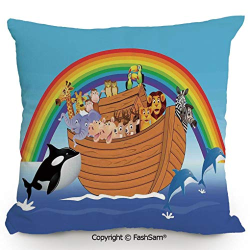 FashSam Throw Pillow Covers Noahs Ark with Funny Cute Animals Dolphins Swimming in Artistic Design Print for Couch Sofa Home Decor(18