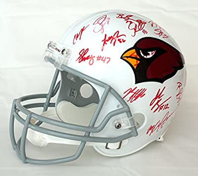 Arizona Cardinals 2015 Team Signed Autographed Riddell Full Size NFL Replica Helmet Fitzgerald Palmer Peterson
