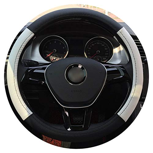 Ablaze Jin Sport Car Steering Wheel Cover Pu Leather 38Cm White Red Brown Black,White 38Cm