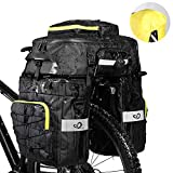 Waterfly Bike Bag Bike Pannier Bag Waterproof Bike Saddle Bag Shoulder Bag with Rain Cover for Riding Cycling (3 in 1) (Black)
