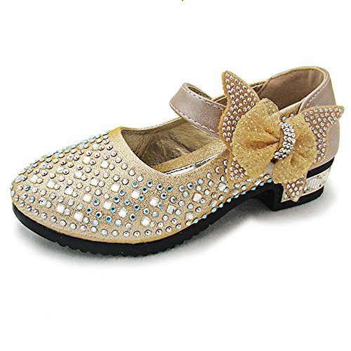 YING LAN Little Big Girl Glitter PU Leather Mary Jane Shoes Gold - Dress Mary Shoes Jane Leather