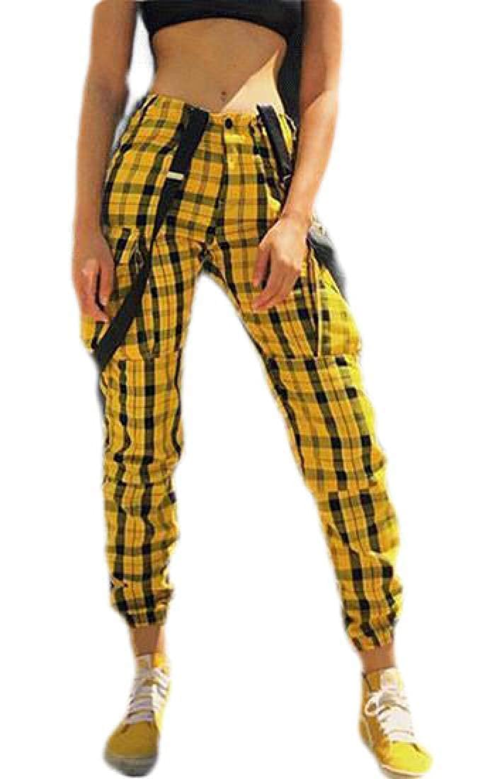 Spirio Womens Casual Strappy Plaid Print Jumpsuit Romper Overalls Cargo Jogger Pants