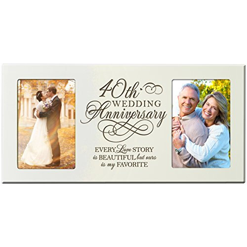 40th Wedding Anniversary Gifts for Couple 40 Year Anniversary Ideas Every Love Story Is Beautiful but Ours Is My Favorite Anniversary Picture Frame Gift for Photo Frame Holds 2- 4x6 Photos (Ivory) (40 Year Wedding Anniversary Gift For Parents)