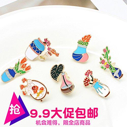 Ja and South Korea cartoon vase small potted camellia students creative fashion fun jewelry brooch pin ()