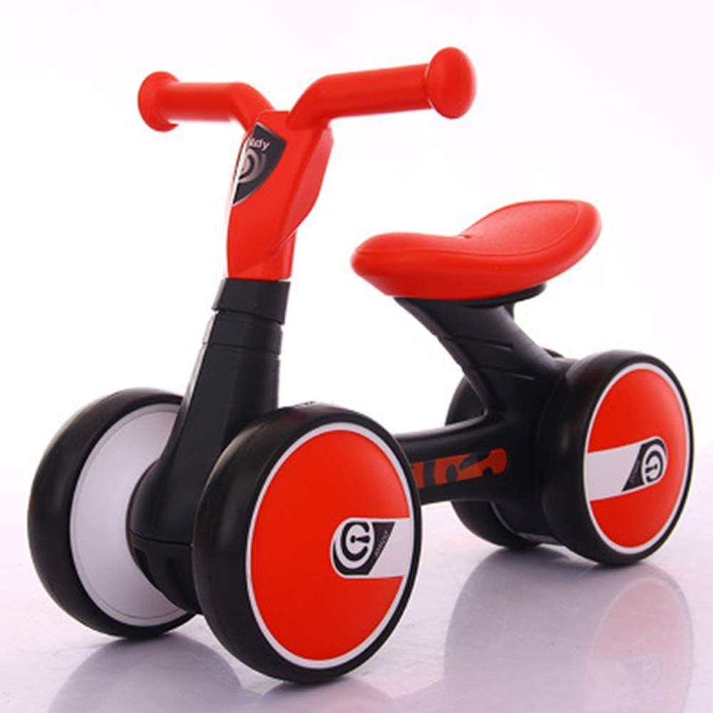 Equilibrio para niños Scooter de Coche Andador para bebés de 1 a 3 años sin Pedal de Cuatro Ruedas,Red