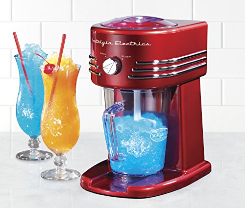 Nostalgia FBS400RETRORED Retro 40-Ounce Frozen Beverage Station 2 40-ounce pitcher Unit simultaneously shaves ice and stirs for perfectly mixed drinks Two shaving settings produce snow or slush ice textures