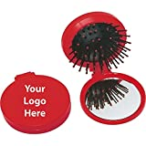 2-in-1 Brush & Compact Mirror - 100 Quantity - $1.35 Each - PROMOTIONAL PRODUCT/BULK/BRANDED with YOUR LOGO/CUSTOMIZED