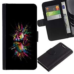 A-type (Color Splash Cráneos Cráneo) Colorida Impresión Funda Cuero Monedero Caja Bolsa Cubierta Caja Piel Card Slots Para Sony Xperia Z1 Compact / Z1 Mini (Not Z1) D5503