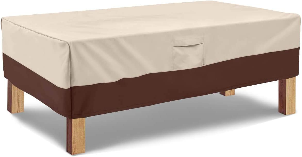 Vailge Rectangular Coffee Table Cover - Outdoor Lawn Patio Furniture Covers with Padded Handles and Durable Hem Cord - Heavy Duty and Waterproof,Fits Large Rectangular Coffee Table (Beige & Brown)