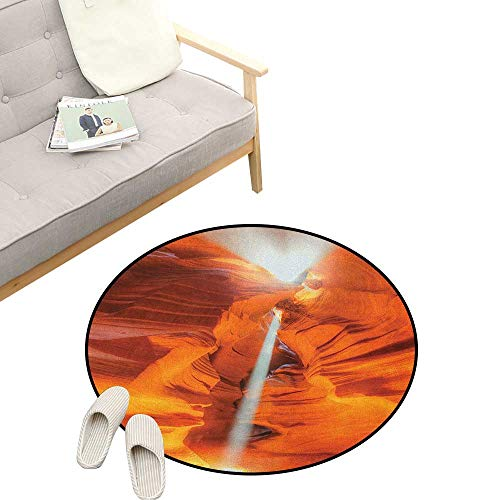 Americana Round Rugs for Bedroom ,Majestic Scenery Sunbeam Sandstone Antelope Canyon Nature Spirituality, Skid Resistant Rug Pet Pad 31