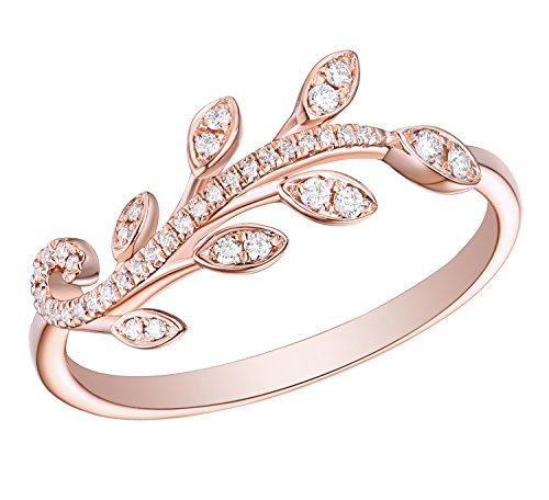 Prism Jewel 0.12Ct G-H/I1 Natural Diamond Peace Olive Leaf Style Delicate Ring, 14k Rose Gold, Size ()