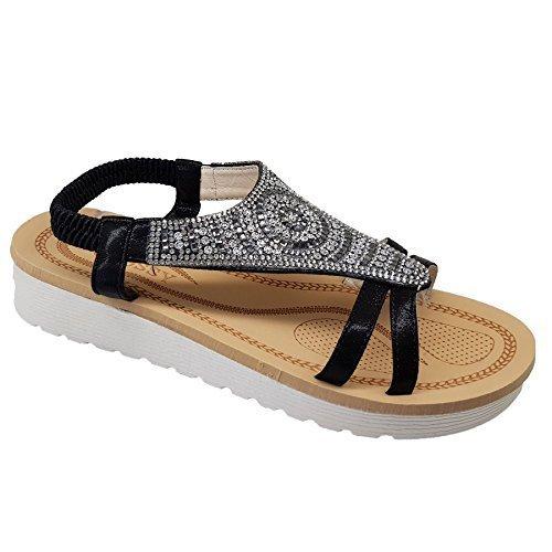 Fantasia Boutique Ladies Elastic Sling Back Strappy Diamante Flatform Fashion Sandals Shoes Black KkW6C9