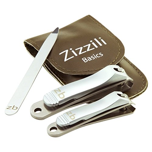 Nail Clippers by Zizzili Basics - 3 Piece Nail Clipper Set - Stainless Steel Fingernail & Toenail Clippers with Nail File and Brown Carry Case - Best Nail Care for Manicure, Pedicure, Home & Travel - Spa Ingrown Toenail File