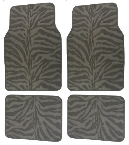 Zebra Floor Mats - Grey Zebra Animal Print Compressed Style Car Truck SUV Front & Rear Seat Carpet Floor Mats - 4PC