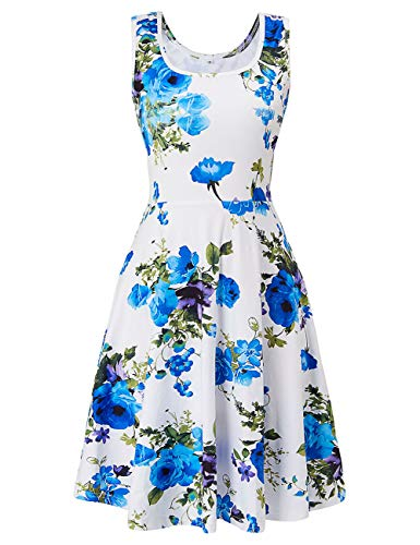 (Fanient Women Sleeveless Floral Dress Beach Casual Holiday Flared Floral Tank Dress)