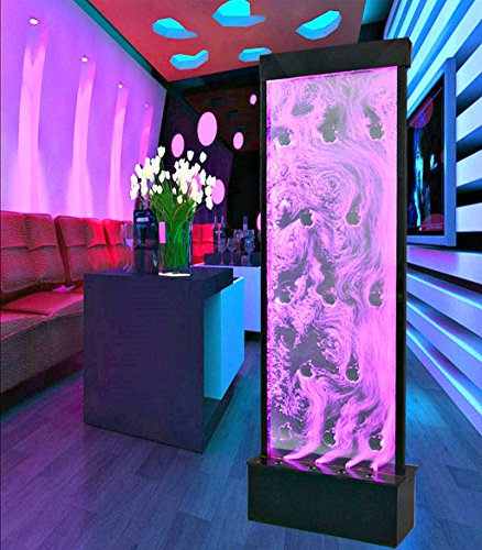 Fountain Bubble Wall Display Panel 71 Inch Free Standing Multi Color LED Light Restaurant Bar Club Entry Foyer Model SD-P48 - Bubble Club