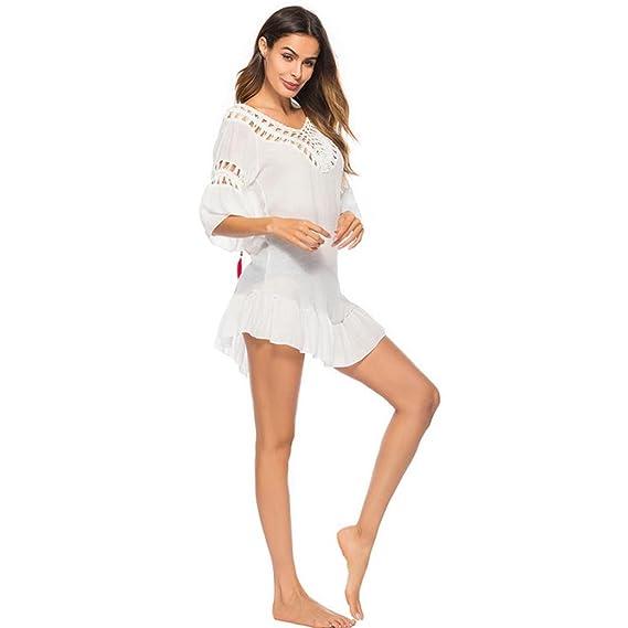 ZARLLE Mujeres Bikini Encubrimiento Puro Crochet De Plumas Knit Hollow Out Manual De Gasa Playa Sunscreen Vestido Bikiní Del Halter Del Recorteestido ...