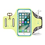 iPhone 7 Armband, Sport Waterproof Running Exercise Gym Fitness Cell Phone Sportband bag with Fingerprint Touch & Key Holder & Card Slot for iPhone 7, 6s 6 5s se Samsung Galaxy S8 S7 S6 LG (Green)
