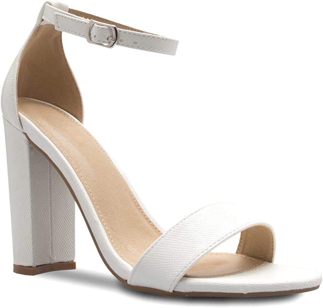 Wedding Party ? Simple Classic Pump Olivia K Womens Strappy Chunky Block High Heel Formal