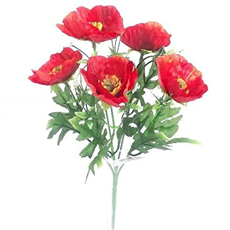 Artificial red poppy flowers amazon kitchen home artificial red poppy flowers mightylinksfo