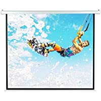Pyle 84 Portable Motorized Matte White Projector Screen - Automatic Projection Display with Wall / Ceiling Mount, Remote and Case - For Home Movie Theater, Slide / Video Showing - PRJELMT86