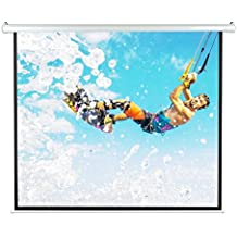 """Pyle 84"""" Portable Motorized Matte White Projector Screen - Automatic Projection Display with Wall / Ceiling Mount, Remote and Case - For Home Movie Theater, Slide / Video Showing - PRJELMT86"""
