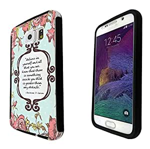 273 - Shabby Chic Floral Christian Quote Believe in your self Design Samsung Galaxy Note 4 Full Body CASE With Build in Screen Protector Rubber Defender Shockproof Heavy Duty Builders Protective Cover