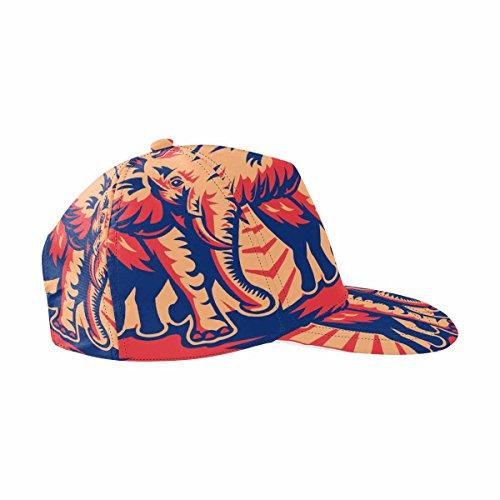 InterestPrint African Bull Elephant Charging Done Adjustable Snapback Hat