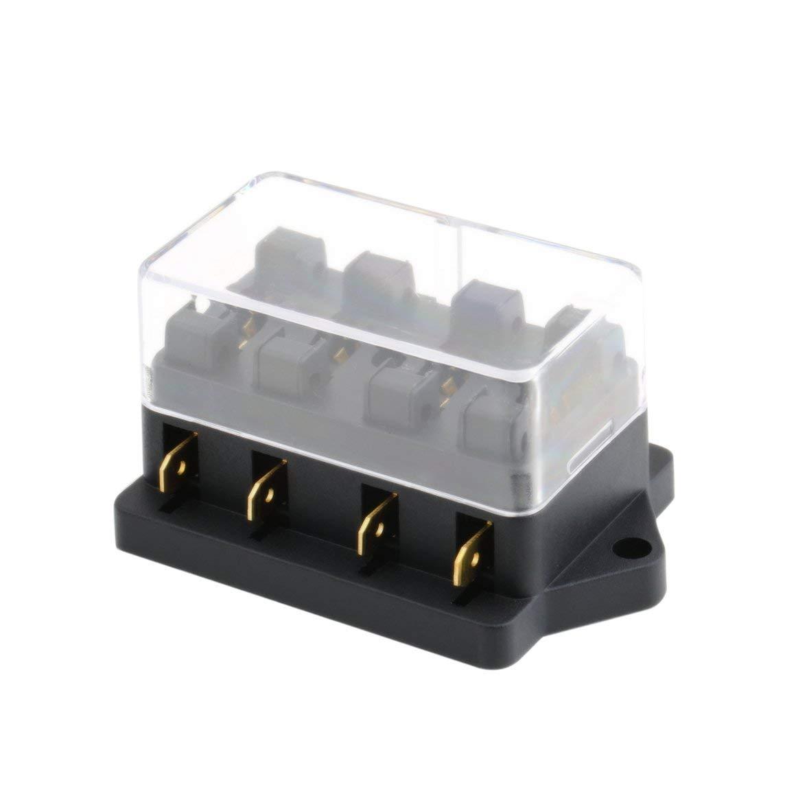 Funnyrunstore Caja de fusibles de 4 ví as CC 12 V 24 V Circuito DC de 32 V Má x. Circuito Coche Remolque Automá tico de cuchillas Portafusibles Bloque de la caja ATC ATO 2 entradas 4 salidas Salida de cable