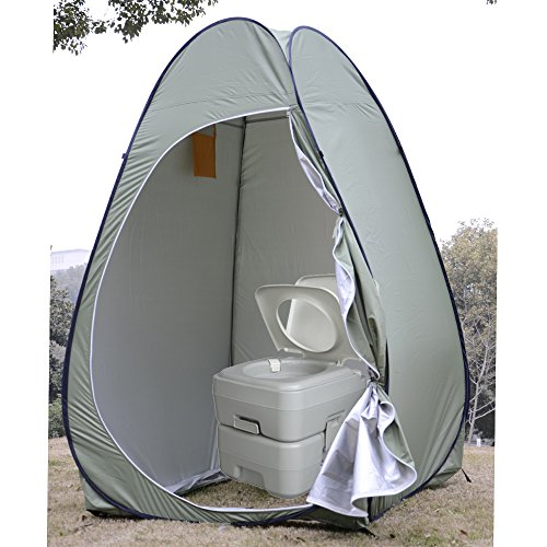 VINGLI Instant Pop-up Privacy Tent Changing/Dressing Room Shower Shelter & Portable Flushing Toilet Commode Combofor Beach, Camping, Hiking& Outdoor (Camp Bunk Beds Metal)